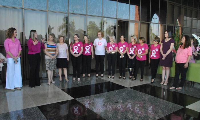 A vice-governadora Claudia Lelis recebeu para um café da tarde nesta sexta-feira, 9, no Palácio Araguaia, a diretoria da Liga Feminina de Combate ao Câncer