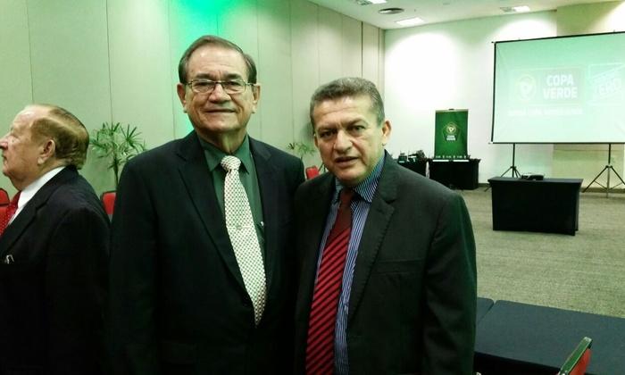 Secretário do Esporte, Salim Milhomem, com o presidente da CBF em exercício, Antônio Nunes