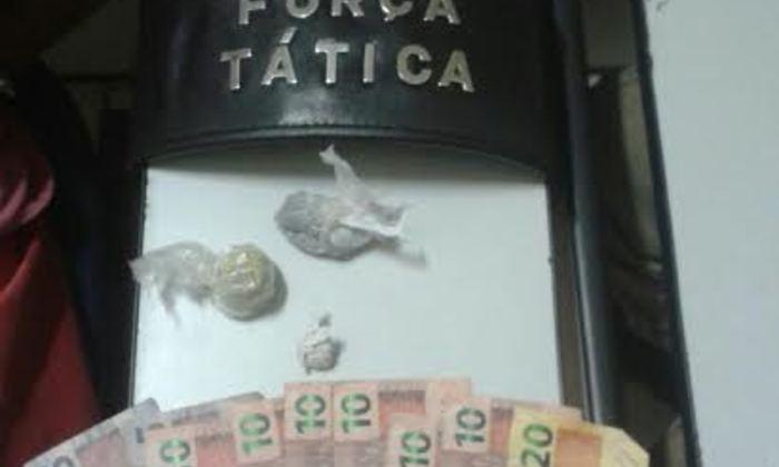 Droga e dinheiro apreendido pela PM em Palmas.