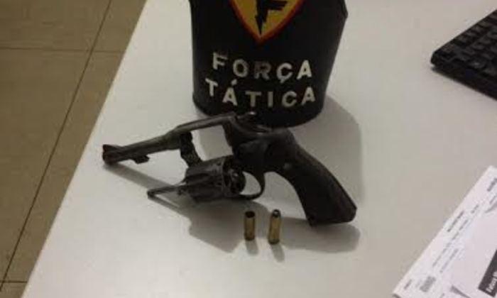 Arma apreendida pela PM com menor infrator em Araguaína.