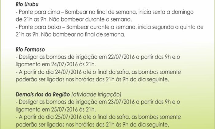 Período de Irrigação por Rio