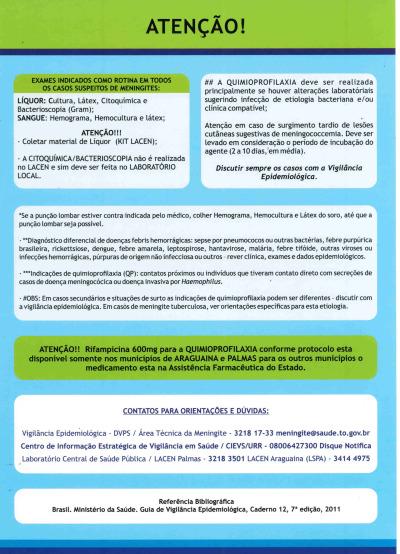 Verso - Fluxograma para Atendimento de Casos Suspeitos em Hospital  e UBS