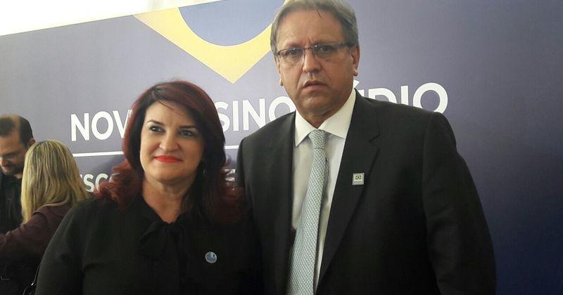 Professora Wanessa e o governador Marcelo Miranda, durante lançamento  em Brasília