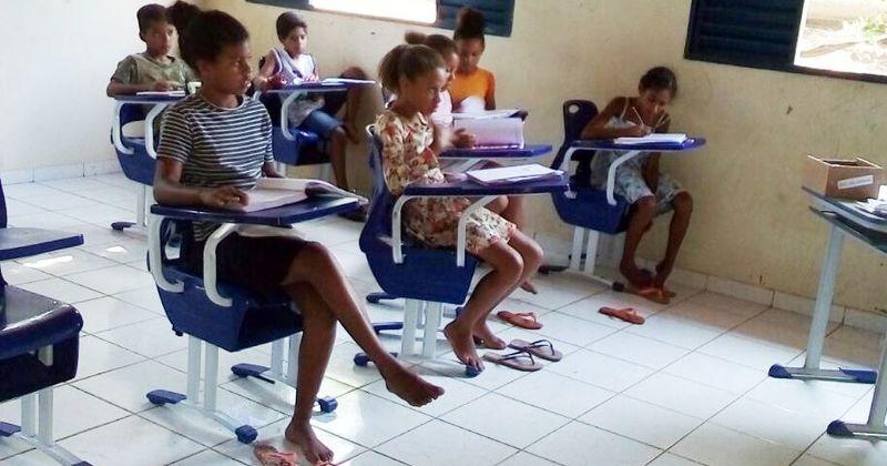 Alunos do 4º ano do Ensino Fundamental da Escola Estadual Silvério Matos