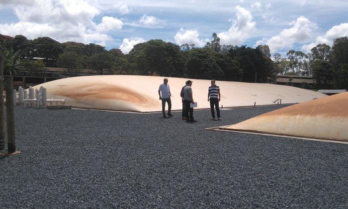 Os técnicos da gerência de Agroenergia conheceram as tecnologias utilizadas no projeto de criação de suínos, como produção de biogás e biofertilizante