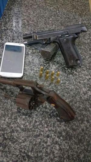 Armas apreendidas pela PM em Gurupi.