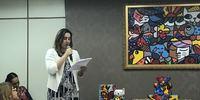 Procuradora do Estado Paula Souza Cabral fala, emocionada, sobre dra. Lucélia