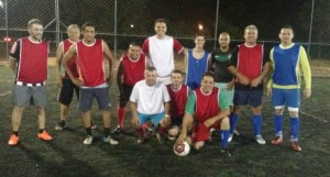 Equipe de futebol da Redesat, jogo em homenagem ao Dia dos Pais.