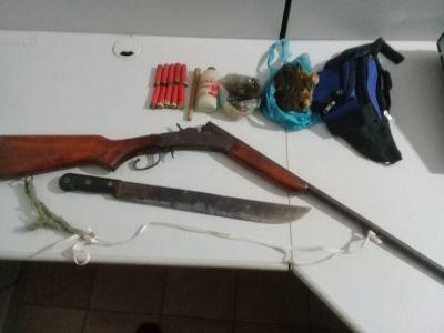 Armas e munições apreendidas em Araguatins.