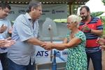 Governador Marcelo Miranda e o presidente da ATS, Eder Fernades, durante entrega de cisternas em Aurora do Tocantins