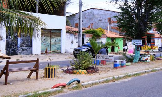 Canteiro central revitalizado pelos moradores do bairro