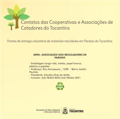 Cooperativas e associações de Catadores de Paraíso do Tocantins