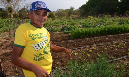 O agricultor familiar João Felipe da Conceição, cultiva hortaliças, frutas e legumes numa pequena área. Tudo com a supervisão de técnicos do Ruraltins, por meio do programa Quintal Verde