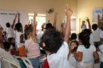Crianças de Bernardo Sayão se divertem durante atividades do Educa Sanea