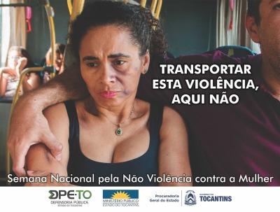 Cartaz já circula no transporte coletivo de Palmas