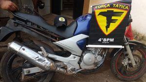 Motocicleta apreendida durante a Operação Braço Forte