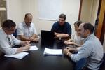 Engenheiro Sílvio Leão e servidores da Ageto na reunião  com o diretor da Concremat,   Gontran Thiago Tibery Lima Maluf