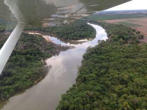 Sobrevoo da aeronave na operação de fiscalização de rios e lagos no Tocantins