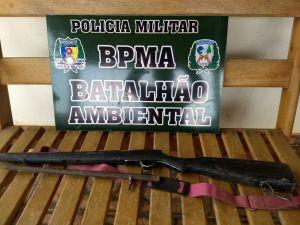 Arma de fogo apreendida no leito do Rio Araguaia