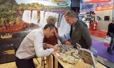 Logo nas primeiras horas, vários visitantes passaram pelo estande do Governo do Tocantins onde receberam informações sobre os principais atrativos turísticos do Estado - Pedro Barbosa/Governo do Tocantins