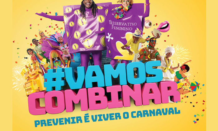 """Este ano, a campanha de carnaval do Ministério da Saúde traz como tema """"Prevenir é Viver o Carnaval"""" #VamosCombinar"""