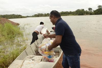 Mais de 40 cestas básicas foram entregues aos Javaés. Foto Lauane dos Santos - Governo do Tocantins.JPG
