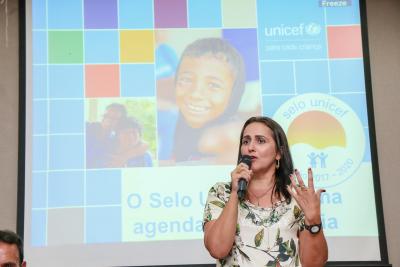 Patrícia do Amaral fala na abertura da capacitação