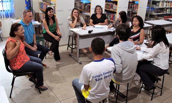 Visita da equipe do programa Tutoria Pedagógica ao Colégio São José, em Palmas