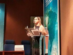 Regina Barbosa, diretora de defesa, inspeção e sanidade animal da Adapec, durante apresentação na 1º reunião do bloco II para retirada da vacinação contra a febre aftosa