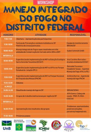 Programação do evento em Brasília - DF