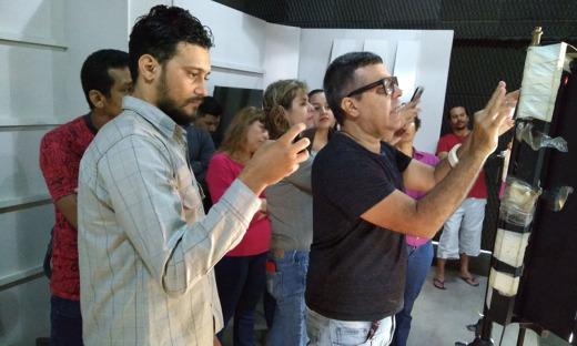Estão participando do curso 15 alunos e 10 monitores da Redesat – cinegrafistas e editores