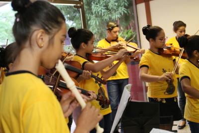 A Orquestra Sinfônica do Colégio Vila União apresentou no evento