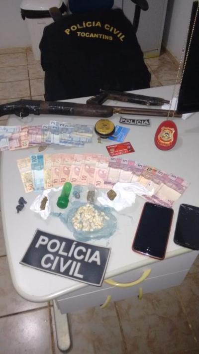 Drogas, armas de fogo e dinheiro apreendidos pela Polícia Civil em Peixe