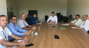 Equipe técnica reunida para elaboração de documento referente ao Plano de Trabalho 2019