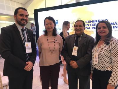 O Vice-governador Wanderlei Barbosa, com o secretário de Estado do Trabalho e Desenvolvimento Social, Messias Araújo, e a Coordenadora Estadual do Programa Primeira Infância, Katilvânia de Souza.