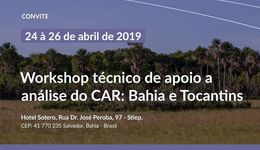 O I Workshop técnico de apoio a análise do CAR: Tocantins e Bahia é uma parceria entre as Secretaria do Meio Ambiente dos estados, o Instituto de Meio Ambiente e Recursos Hídricos (Inema) e o Instituto Natureza do Tocantins (Naturatins), por meio do Acordo de Cooperação Técnica com a Conservação Internacional - CI