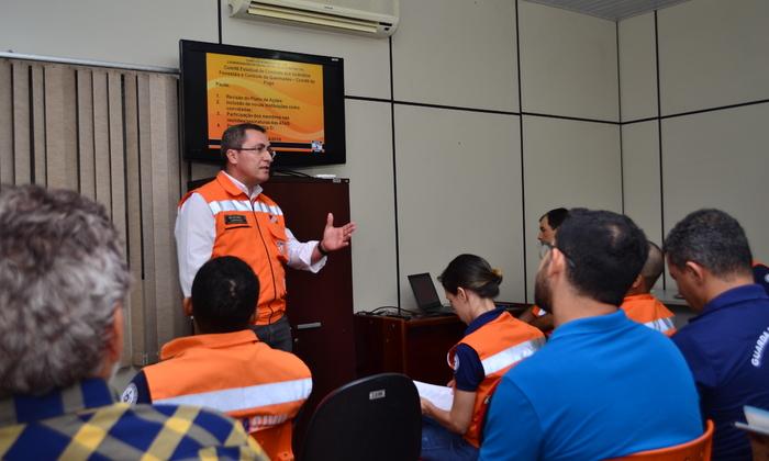 Presidente do Comitê do Fogo e superintendente da Defesa Civil, tenente-coronel Geraldo da Conceição Primo, reúne equipe para definir atividades para 2019.