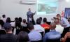 O pesquisador da Embrapa fala sobre a micotoxina do milho no seminário do milho e sorgo.