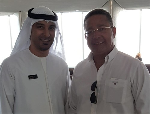 Presidente Tom Lyra, em visita ao representante do turismo do governo de Abu Dhabi
