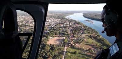 Aeronave da Seguranaça Pública sobrevoa cidade da região Centro-Norte