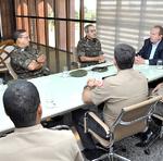 General de brigada Marco Aurélio de Almeida Rosa, comandante da 3ª Brigada de Infantaria Motorizada do Exército, com sede em Cristalina, Goiás, visita governador Carlesse