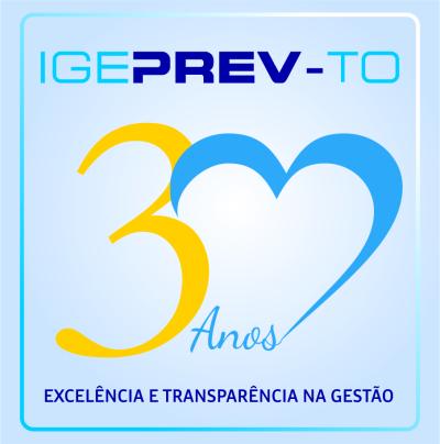 Imagem do selo dos 30 anos do Igeprev.