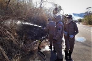 Bombeiros militares combatem fogo na margem da rodovia, próximo a Taquaruçu