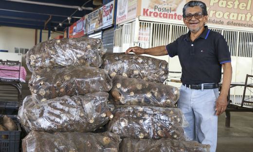 Agricultor familiar, Sebastião Delmondes, de 61 anos, entregou ao Compra Direta, 500 kg de mandioca
