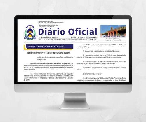Portaria foi publicada no Diário Oficial do Tocantins