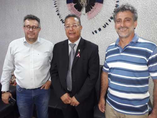 Sebastião Albuquerque, Tom Lyra, e o diretor de biodiversidade e áreas protegidas, Warley Rodrigues