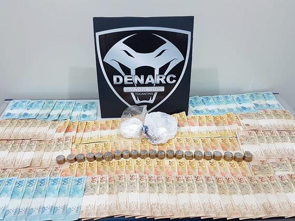 Dinheiro e cocaína apreendidos nessa quarta, 9, em Palmas