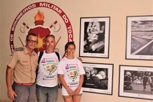 Victor e Maria Pechi em visita ao Quartel do CBM em Palmas, acompanhado do tenente-coronel Filho
