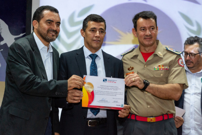 Vice-governador Wanderlei Barbosa, secretário do Meio Ambiente Renato Jayme, comandante geral do Corpo de Bombeiros, CEL Leandro da Silva