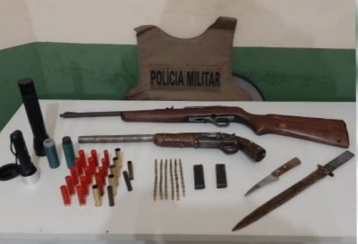 Armas de fogo e munições apreendidas pela PM em Natividade